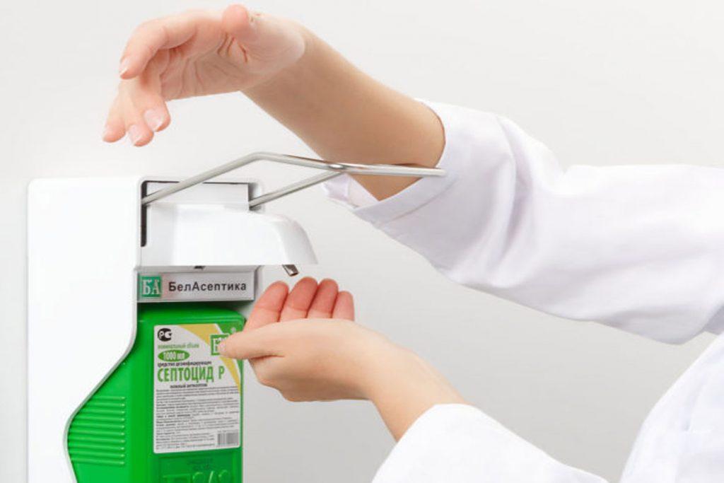 5 видов антисептиков с дозатором для рук - локтевой