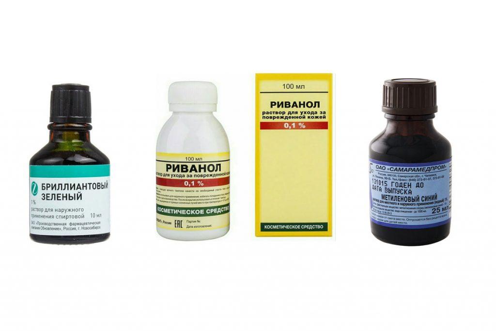 Антисептики и дезинфицирующие средства - красители